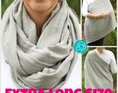 Extra Long Slate Gray 100% Cotton Muslin Gauze Hold Me Close Nursing Scarf, Nursing Cover, Infinity Nursing Scarf, Nursing Poncho