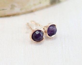 Amethyst Earrings, 14k Rose Gold Filled Purple Amethyst Stud Earrings Wire Wrapped Pink Gold February Birthstone Post