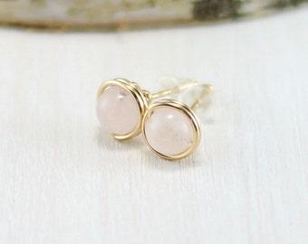 Rose Quartz Earrings, 14k Gold Filled Pink Gemstone Stud Earrings Yellow Gold Wire Wrapped Rose Quartz Post Earrings
