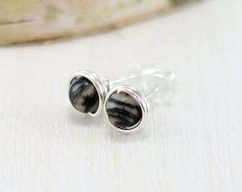 Jasper Earrings, Sterling Silver Black and White Stone Stud Earrings Wire Wrapped Post Earrings Picasso Jasper Jewelry