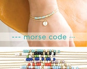 2 Layer Custom Morse Code Initial Charm Bracelet, Gold / Silver, 8 Color Option, Bridesmaid Wedding Girlfriend Gift, Bohemian boho MC ij wj