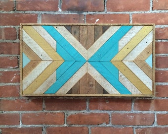 "Reclaimed Lath Wood Wall Decor Turquoise/Gold 25""x 13"""