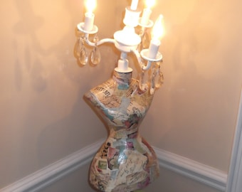 mannequin chandelier lamp,  french country chic, vintage mannequin, shabby chic chandelier, faux pas art, french words
