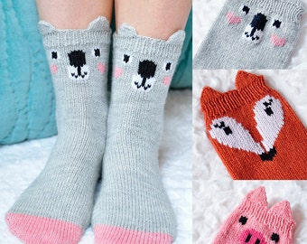 Pawsome Pals Koala, Fox, and Pig Animal Socks KNITTING PATTERN in Girls and Adult Sizes
