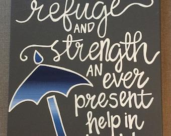 Psalms Bible Verse Umbrella Canvas