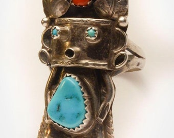 STATEMENT RING!  Zuni Kachina Sterling Silver Coral & Turquoise Boho ring, size 7.5. Ethnic ring. Native American jewelry. Free Ship.