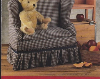 Miniature Loveseat Pattern from Indygo Junction Designs - #217 - Pattern For Wood Couch and Slip Cover - Doll Sized Loveseat -