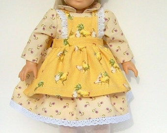 Happy Valentines Day Yellow Country Rooster Pinafore with Country Calico Lavender Floral Designs For 17 to 18 Inch Dolls