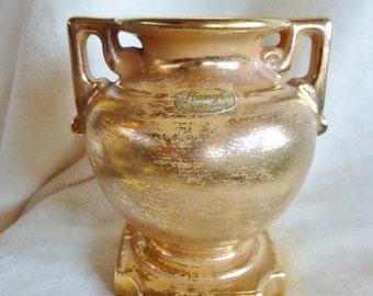 Stangl handpainted Granada Gold footed urn vase