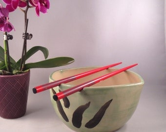 Rice Bowls, Noodle Bowls,Chopstick Bowls, light Green bowls, Ceramic Stoneware, Wedding Gift, Housewarming Gift