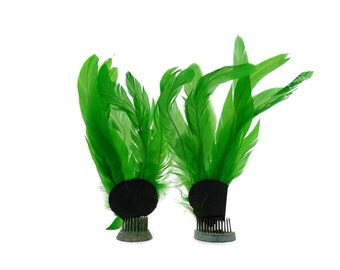 Antique Emerald Green Feather Toppers  Millinery Supply