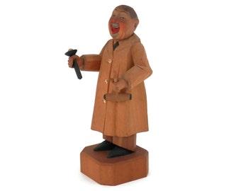 Anri Doctor Psychiatrist Figurine Italian Wood Carving