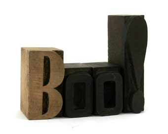 Antique Halloween Letterpress BOO! Wooden Block Letters