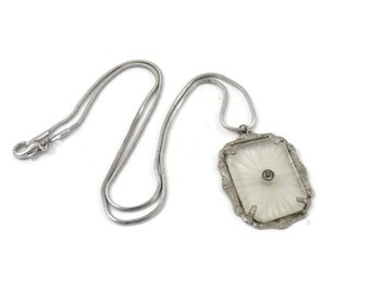 Art Deco Glass Necklace Camphor Rock Crystal with Starburst Carving