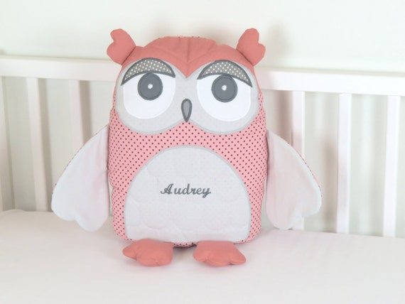 Decorative Owl, Gray and Coral Owl Pillow,  Grey Baby Shower Decor, Coral and Grey Nursery, Personalized Owl