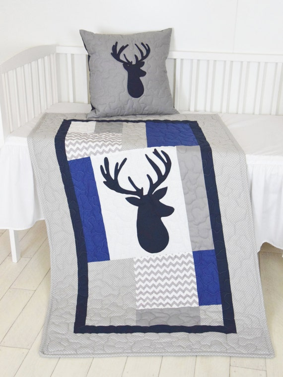 Deer Blanket, Elk  Chevron Quilt, Hunting Nursery,  Boy Woodland Toddler Bedding, Tribal Animal Blanket