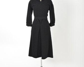 Vintage 1950 50s Black Wool Dress Polka Dot Atomic Mid Century LBD