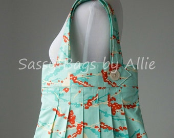 Floral Print Bird Purse-Turquoise, Cream, and Orange-Large Pleated Shoulder Bag-Floral/Damask