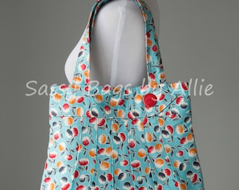 Retro Cherries Purse-Blue, Red, and Orange-Large Pleated Shoulder Bag-Cherry Print