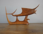 Mid century Wooden Fish / Marlin Fish / Treen / carved wooden fish / wooden animals / 815*79