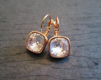NEW Pink Rose Gold Swarovski Earrings/Rosaline Bridesmaid Earrings/Swarovski Crystal Earrings/Pink Crystal Earrings/Rosaline Earrings