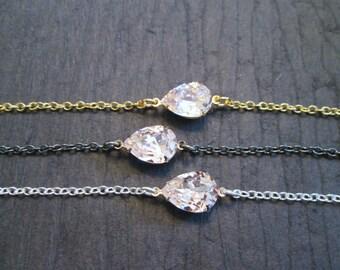 Pear Shaped Swarovski Crystal Bracelet/Bridesmaid Bracelet/Swarovski Bracelet/ Bridesmaid Jewelry/Swarovski Bracelet/Crystal Bracelet
