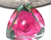 Vintage Reverse Carved Rose Brooch, Lucite, Flowers, Antique Alchemy