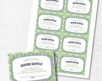 Golf Shower Diaper Raffle,  Printable, Raffle Ticket, Instant Download, Insert Card, Preppy Golf, Baby Shower, Navy and Green, Par tee