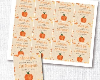 lil pumpkin favor tag digital file - fall shower thank you tag - fall shower  - instant download - DIY