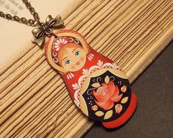 Red and Bronze Matryoshka Doll Necklace