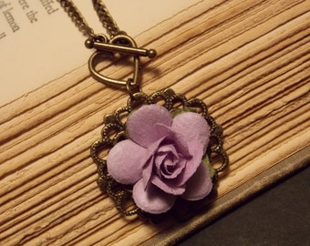 Bronze and Lavender Paper Rose Necklace
