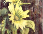 "Original Watercolor Painting With Flowers ""Sunflowers"", Aquarelle"