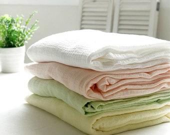Wrinkled Cotton Gauze, Crinkle Gauze, Yoryu Gauze - White, Peach Pink, Light Green or Lime Yellow - 57 Inches Wide - By the Yard 92131