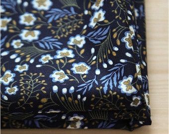 "Flower Fabric, Navy Cotton Fabric, Floral Fabric - 44"" Wide - Fabric By the Yard 85735"