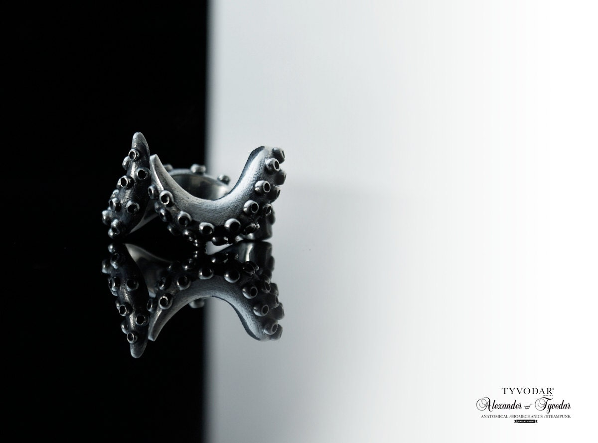 octopus ring in solid sterling silver 925 by