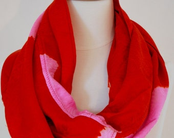Vintage silk kimono Scarf fabric with Red and hot pink