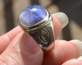Unusual antique edwardian art deco 10k white gold ring with ceylon blue sapphire / mens ring / pinky ring / cut star sapphire / SIKAAA