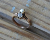 Beautiful victorian / edwardian 14k rose gold ring with moonstone and pearl and leaf design / KCIYWN