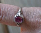 Beautiful edwardian / early art deco 14k white gold filigree engagement ring with pink tourmaline / IXJOPK