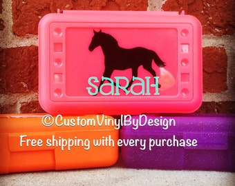 Horse Pencil Box, School Supply Box, Personalized Pencil Box, Personalized Crayon Box, Personalized School Supplies, Personalized Art Box