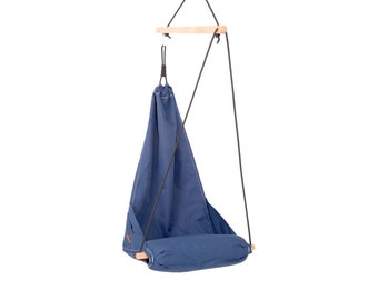 Special hanging chair / Hammock chair / Patio swing / Indoor swing / Outdoor patio furniture / Lounge / Color Navy Blue, (Hang Solo Model)