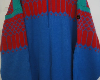 Slopes Style Ski Sweater Mens Size Extra Large XL 80s Vintage