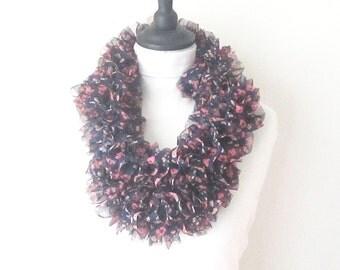 Floral ruffle scarf, lightweight scarf, sashay scarf, pink ruffle scarf, pink black scarf, uk accessories, Christmas gift, ladies scarf