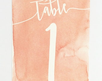 Wedding Table Numbers - Coral Ombre Modern Design with Unique Watercolor Pattern Wedding Table Numbers (Sarah Suite)