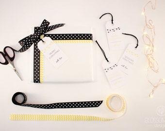 Christmas Tags: Set of 8 tags. Black and Yellow gift tags.
