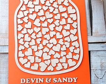 Mason Jar Guest Book ,3D Mason Jar Wedding Guest Book, 3D Guest Book, Heart Wedding Guest Book, 3D Wooden Wedding Guestbook - 100 hearts
