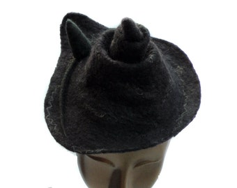 Feline Inspired Alternative Witch Hat - Small Pointed Hat in Dark Purple Black with a Tiny Cat