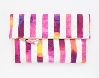 HANDY 11 / Large cotton hand quilted fold over daily clutch bag - Ready to Ship