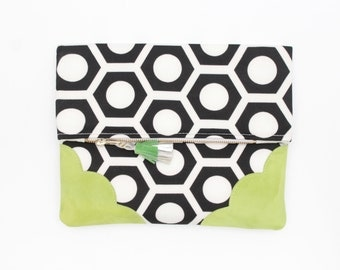 Graphic cotton clutch bag. Fold over clutch. Leather handbag. Monochrome print. Neon natural leather. Black and white handbag. /GRAPHIC 136
