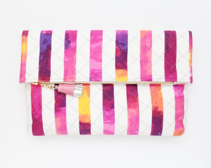 Large clutch bag. Fold over clutch. Leather handbag. Oversized purse. Large daily purse. Stripped fabric. Colorful handbag. /HANDY 11